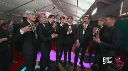 韓国ボーイズグループ「防弾少年団」が、グラミー賞のレッドカーペットに登場した。(提供:OSEN)