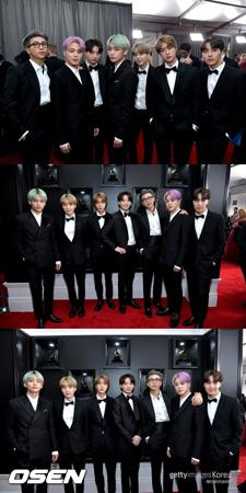 韓国ボーイズグループ「防弾少年団」がグラミー賞のレッドカーペットイベントに登場し、世界中のファンに今後の計画について明かした。(提供:OSEN)