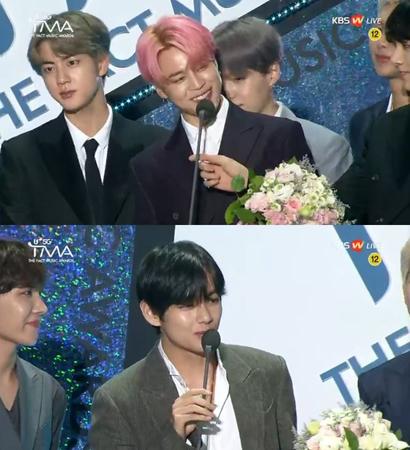 韓国ボーイズグループ「防弾少年団」が、「U+5G THE FACT MUSIC AWARDS」でアイドルライブ人気賞を受賞した。(提供:news1)