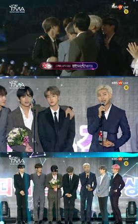 韓国ボーイズグループ「防弾少年団」が、「U+5G THE FACT MUSIC AWARDS」で大賞を受賞した。(提供:news1)