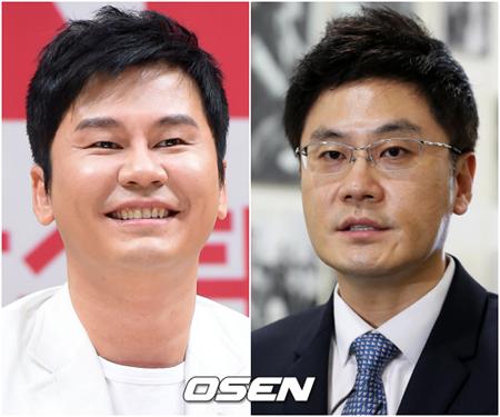 """芸能事務所YGエンターテインメントの前身は、ヤン君企画だ。ヤン・ヒョンソク代表プロデューサー(写真左)が、「ソテジ・ワ・アイドゥル」時代に呼ばれていた""""ヤン君""""をそのまま使ったのだ。(提供:OSEN)"""