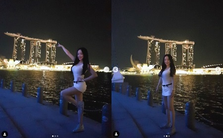 女性ポップアーティストのナンシー・ランが、シンガポールの夜を報告した。(提供:OSEN)